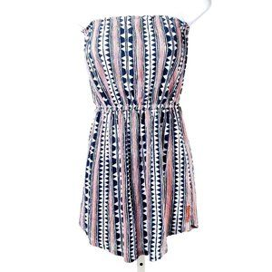 🍍BILLABONG Navy & Red Stripe Strapless Mini Dress